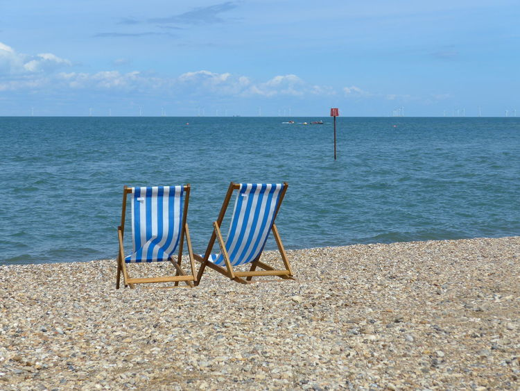 I Am New Here. Absence Beach Beauty In Nature Blue Chair Day Horizon Over Water Nature No People Outdoors Scenics Sea Sky Sunlight Tranquil Scene Tranquility Water Whitstable Kent England