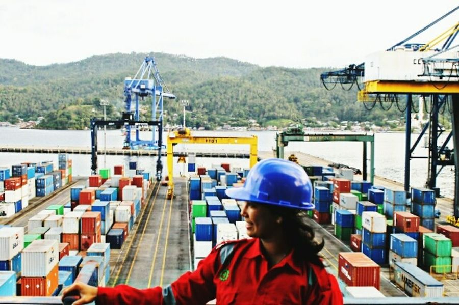 Headwear Protective Workwear Reflective Clothing Women Of EyeEm Adult Outdoors Engineer Contractors  Container Crane INDONESIA pesona indonesia