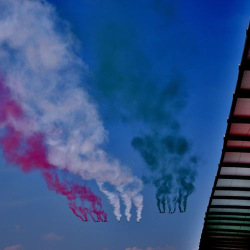 Blue Sky Cloud - Sky No People Flag Multi Colored Smoke - Physical Structure Outdoors Day Close-up F1Mexico