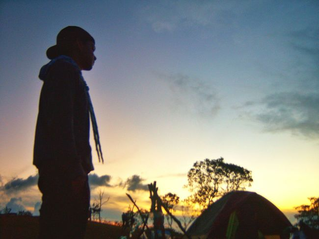 A camping day Nature Sky One Person Sunset Standing Camping Photography Photographer Photoshoot Hill Hillside Chill Silhouette Nature Outdoors Blue Only Women Men Winter Beauty In Nature Tree Day First Eyeem Photo