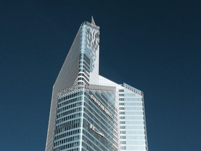 Architecture Low Angle View Building Exterior Architecture City Skyscraper Clear Sky Built Structure Modern Blue Tower Outdoors No People Day Sky Office Block Fine Art Statue