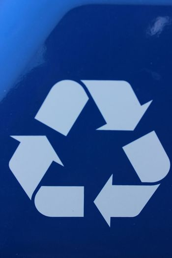 Colbat Blue By Motorola Recycle Renewables Think Green Save Our Planet Signs White Arrows