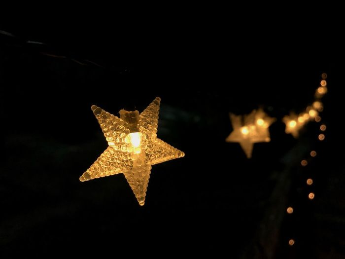 An end is not necessarily bad, it's a fresh start of something new. ✨ Bright Hope Warmth Continuous Star Star Shape Illuminated Shape Night Decoration Christmas Christmas Decoration Lighting Equipment Holiday Shiny Close-up Glowing No People Gold Colored Celebration Christmas Lights Christmas Ornament Dark Warmth