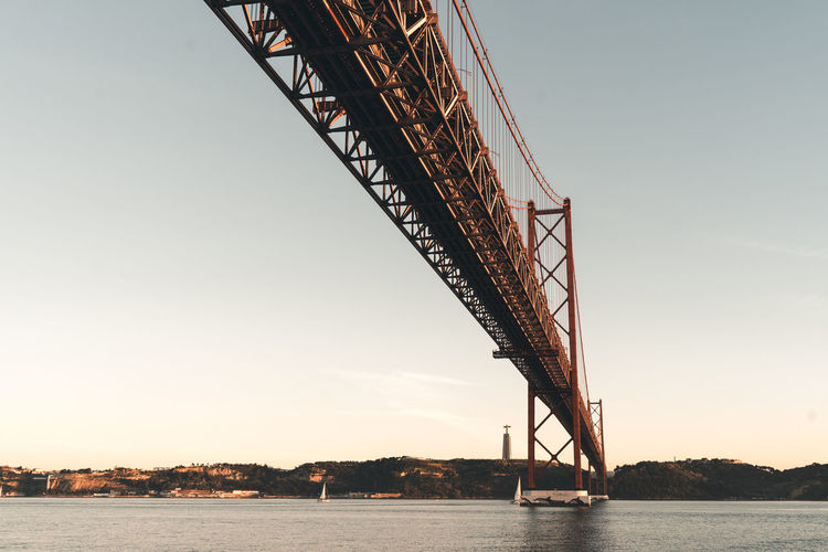 Water Sky Nature Architecture Transportation No People Waterfront Clear Sky Built Structure Sea Bridge Low Angle View Bridge - Man Made Structure Connection Copy Space Outdoors Beauty In Nature Construction Equipment