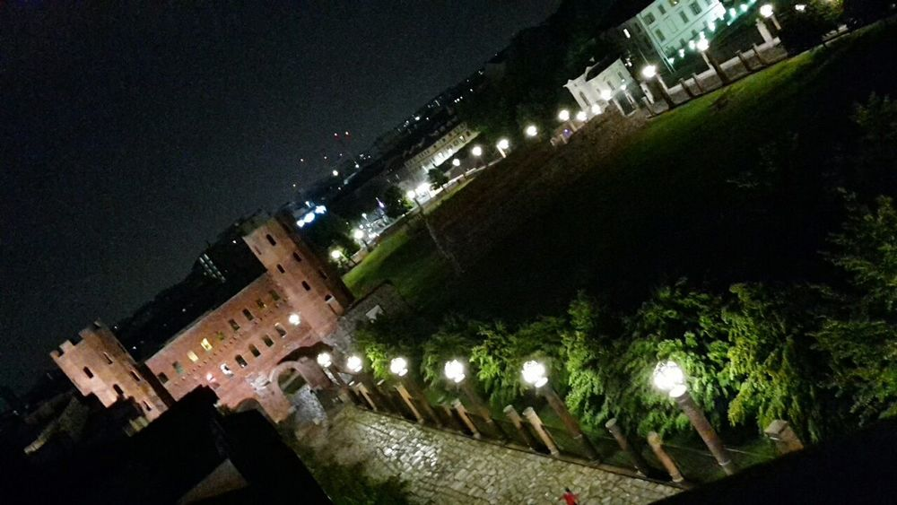 Cities At Night Porta Palatina Turin Roman Empire Roman Ruins Night Photography My City At Night Panoramic Street Photography Street Lamps From My Point Of View