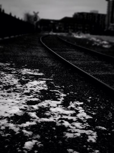 «And there's a slow slow train comin' up around the bend» Railroad Track Transportation No People Outdoors Day Close-up Nature Sky Rail Transportation Train Tracks I Love Trains Blackandwhite Black And White Monochrome Monochrome Photography Wandering Pondering Where's That Train Tranquility Exploring Snow Lifestyles