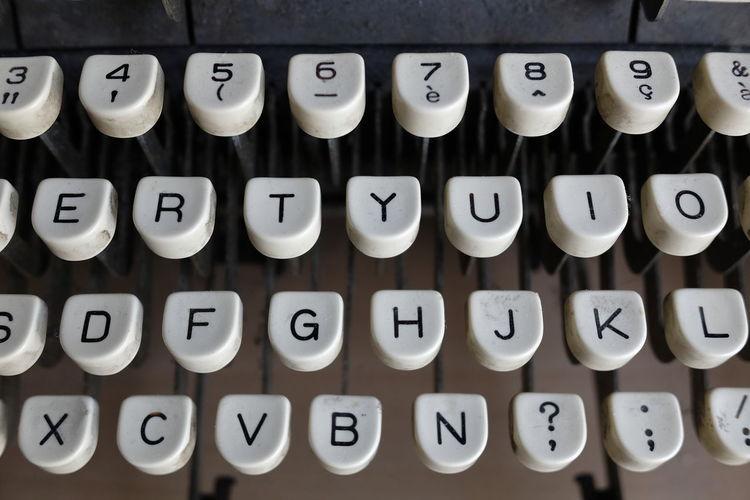 High angle view of typewriter keys