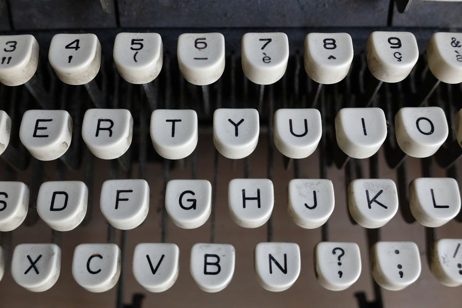 Old-fashioned Number Typewriter Antique Retro Styled Communication Alphabet Text ObsoleteIn A Row Orthographic Symbol Close-up Correspondence Technology Journalism Office Indoors  Financial Figures No People Day
