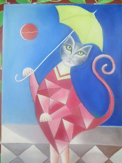 #artistic Cat #beautiful Cat #cat #cute #love #cats In The Art #feminine #geometric Shapes #redcolo #sophistication Attractive Cat Blue Cat And The Umbrella Catlover Close-up Day Ellegance Ellegant And Feminine Ellegant Cat Female Cat Geometrical Cat Indoors  Multi Colored No People Painting Of A Cat Seduction Table
