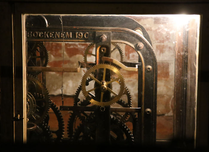 Church Clock Clock Unit Clockwork Illuminated Latvia Latvija Machinery
