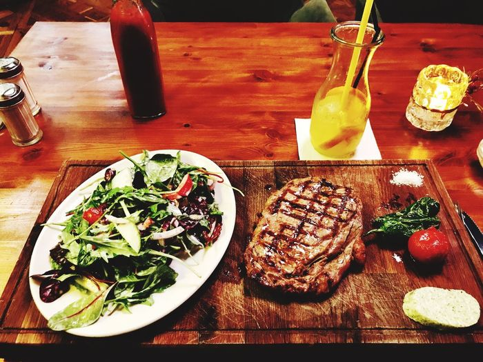 Entrecote & Salads IPhoneography Food And Drink Food Table Indoors  Freshness Meat Food Stories Food Stories