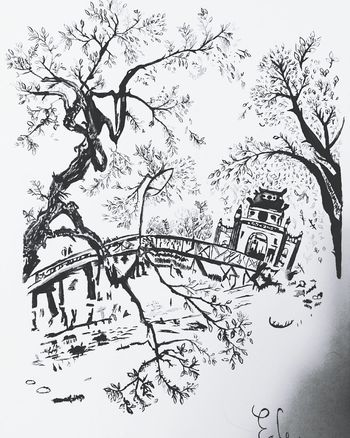 My first watercolor painting! Watercolor Black And White Painting Art Sketch Artist Leaves Vietnam Hoi An Trees Bridge Temple Drawing