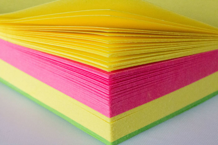 Close-up Colours Corner Fanned Fanned Out Green Layers Multi Colored No People Paper Pink Post Its Stationery Sticky Notes Vibrant Colours White Background Yellow
