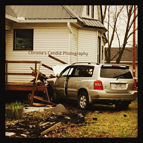 This accident happened across the street from my house. The driver had a heart attack from what I read in the newspaper. Photo made it into the newspaper. Muscoda, WI Car Accident Car Accident! Accident Automobile Car SUV Wisconsin Heart Attack House Old House This Old House Accidents Accident :( Deck Crash Crashed Car Crash Wood Muscoda