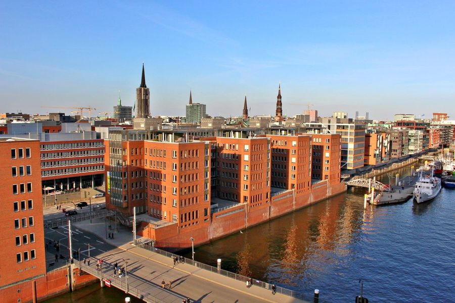 Architecture Building Exterior City Day Hamburg Outdoors Perspective Sky Top View Water