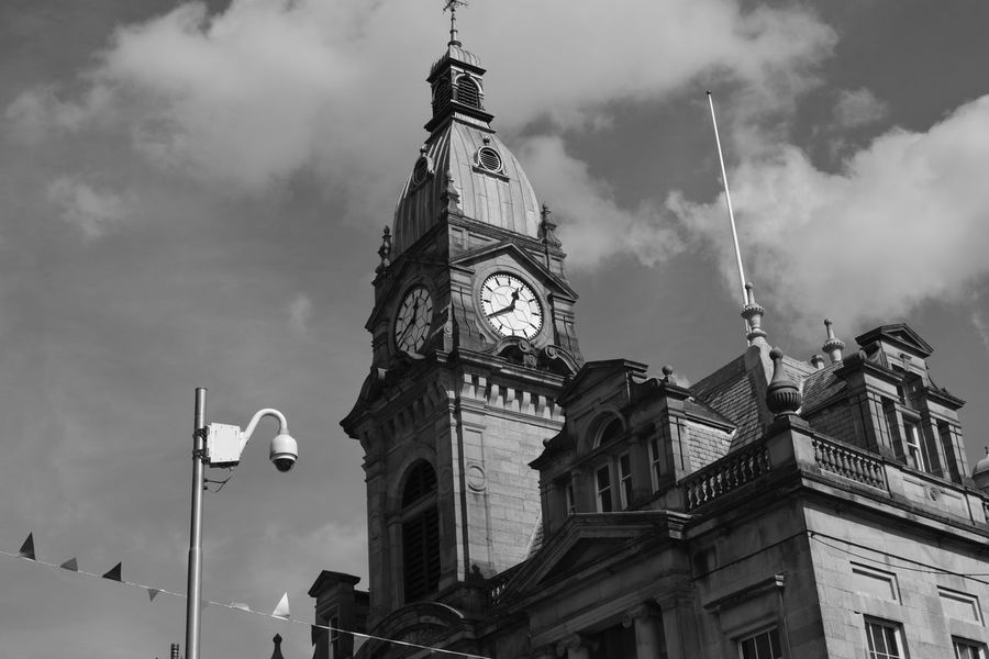 All My Own Work Architecture Blackandwhite Building Exterior Built Structure Clock Clock Tower Clouds And Sky Hebden Bridge No Edit/no Filter No People