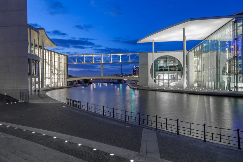 government district Berlin Government Building Marie-Elisabeth-Lüders-Haus Night Lights Nightphotography Paul-Loebe-Haus Spree Architecture Blue Blue Sky Building Exterior Built Structure Capital Cities  Illuminated Outdoors Reflection River Sky Tourism Water