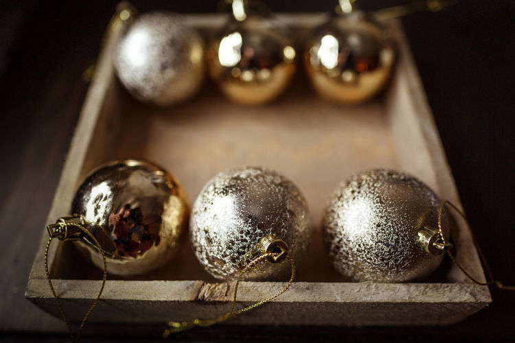 Close-Up Of Baubles On Table