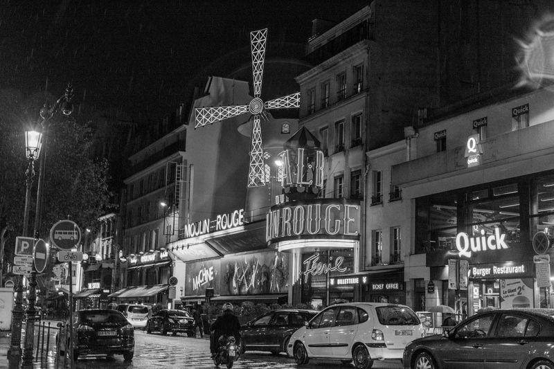 Architecture Building Exterior Built Structure City Illuminated Montmartre, Paris Moulin Moulin Rouge Moulin Rouge Paris Moulinrouge Night Paris Black And White Paris By Light Paris By Night Paris Je T Aime Paris ❤ Paris, France  ParisByNight Street Street Light Neighborhood Map