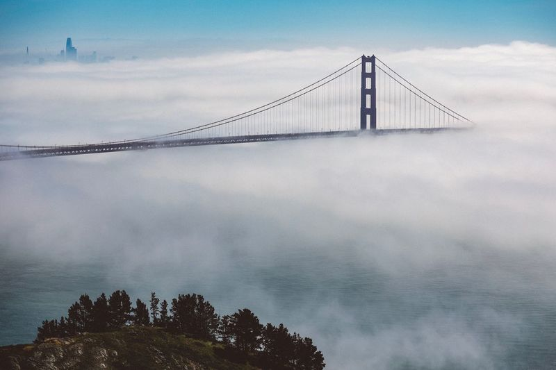 The fog Golden Gate Bridge San Francisco Bay San Francisco Bridge - Man Made Structure Suspension Bridge Connection Engineering Architecture Built Structure Sky Travel Destinations Landscape Cloud - Sky City Urban Skyline Steel Dramatic Sky Travel Nature Outdoors Scenics Tourism