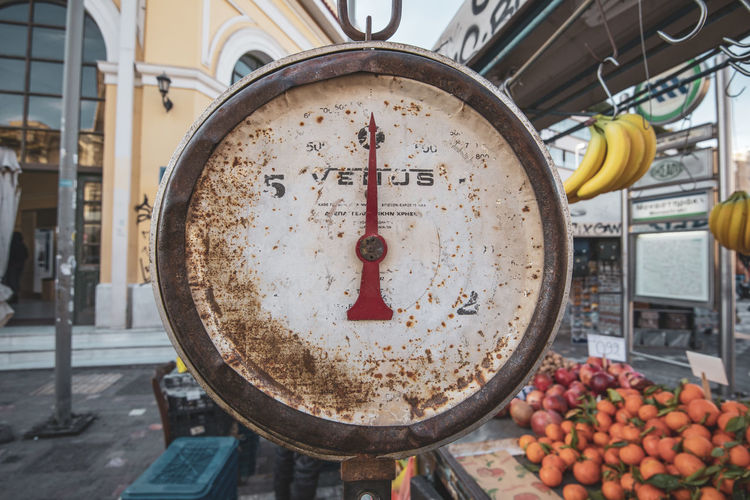 Athens Athens Greece Athens, Greece Food And Drink Freshness Food Fruit No People Focus On Foreground Healthy Eating Close-up Day Instrument Of Measurement Number Weight Scale Scale  Container Wellbeing Architecture Outdoors Built Structure Large Group Of Objects Gauge