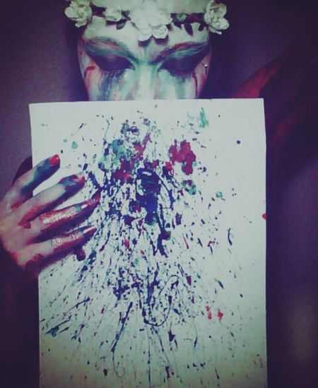 i am the Creator of myself, but also the Destroyer. Suicide Paint Selfportrait Poetic Cry Sensitive Colorful Paint Splatter Flowerband Bodyart