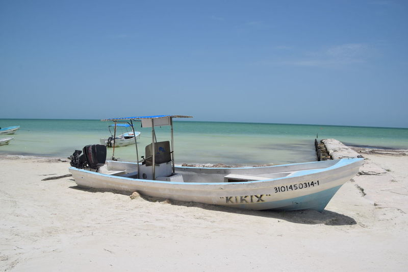 paradise. Holbox Island Mexico Beach Beauty In Nature Clear Sky Day Fishing Boat Holbox Horizon Horizon Over Water Land Mode Of Transportation Moored Nature Nautical Vessel No People Outdoors Sand Scenics - Nature Sea Sky Tranquil Scene Tranquility Transportation Water