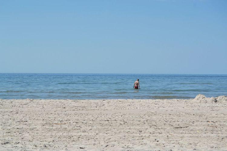 Sea Water Clear Sky Beach Full Length Sand Blue Summer Sport Sky FootPrint