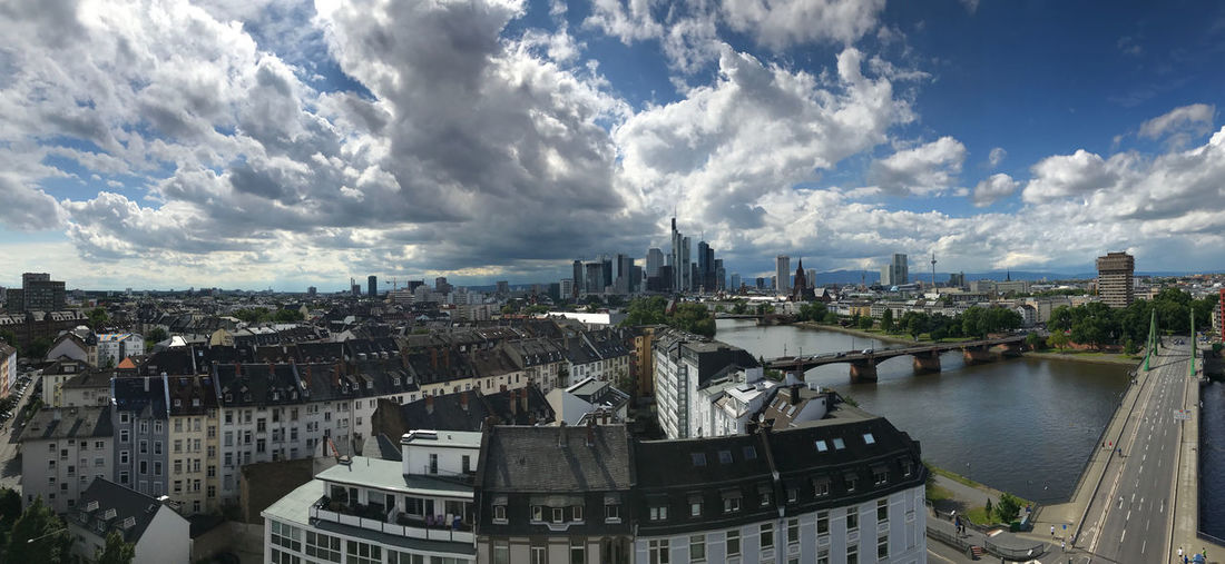 Frankfurt Am Main Panorama Architecture Bridge Building Building Exterior Built Structure City Cityscape Cloud - Sky Connection Day High Angle View Nature No People Office Building Exterior Outdoors Residential District River Sky Skyscraper Water
