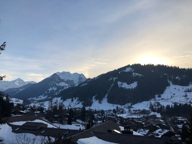 A rainbow? Rainbow I❤️Gstaad EyeEmNewHere EyeEm Nature Lover EyeEm Best Shots Bolonie Style Bolonie Art Bolonie Snow Mountain Winter Cold Temperature Sky Outdoors Building Exterior Scenics Nature Beauty In Nature No People Built Structure Roof Mountain Range Day Architecture Sunset Landscape Range