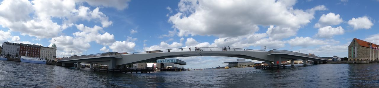 Panoramic View Of Bridge Over River Against Sky In City