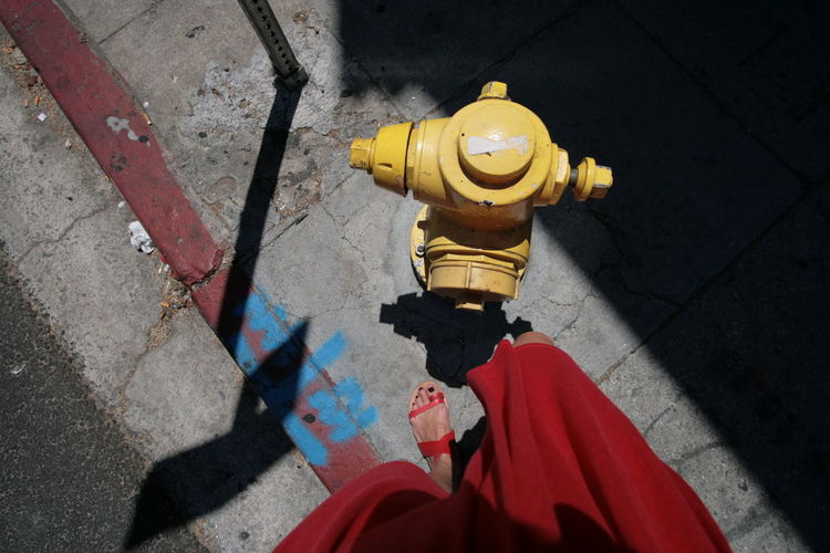 High angle view of water hydrant