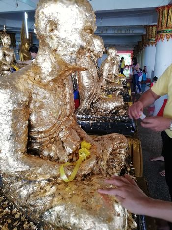 Worship Gold Colored Buddhist Temple Buddha Statue BUDDHISM IS LOVE Believe Culture Human Hand
