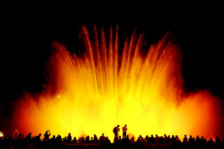 """""""fountain show_2"""" Fountain Show Travel Trip Journey SPAIN Barcelona Montjuic Montjuiccastillo Crowd Audience Excitement Spectator Red Nightlife Silhouette Illuminated"""