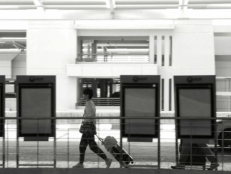 Adult Day One Person Phuket,Thailand Phuket Airport Blackandwhite Photography Walking Luggage