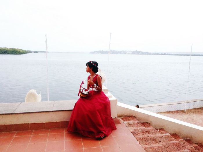 Flowergirl Catholicwedding EyeEm Nature Lover Water Sea Young Women Full Length Red Women Evening Gown Rear View Sky Seascape Tide Horizon Over Water The Portraitist - 2018 EyeEm Awards