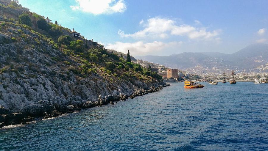 Turkey Alanya Island Holiday Coastline Travel Rock Mountain Sea Water Nautical Vessel Beach Tree Blue Sky Cloud - Sky Landscape Boat
