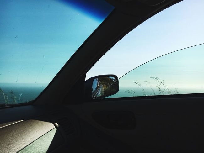 On the road back from Stinson Beach a few weeks ago Rear View Mirror Car California Blue Skies