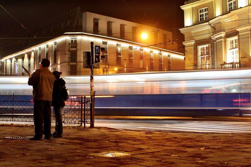 Long Exposure Of Tramway At Night