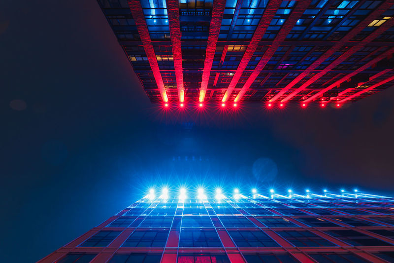 Illuminated Pattern Glowing Night Architecture Red Blue Abstract Technology No People Light - Natural Phenomenon Lighting Equipment Built Structure Multi Colored Building Exterior Business Arts Culture And Entertainment Connection City Bright Nightlife Skyscraper