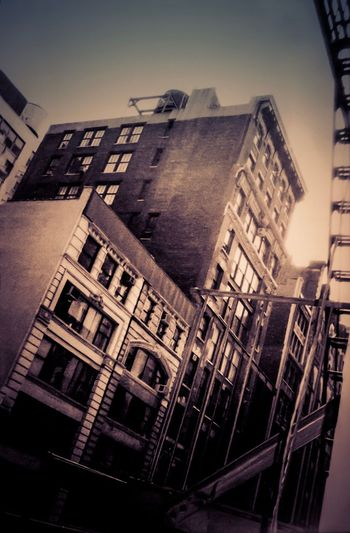 Scanned Photo New York City Architecture Building Exterior Built Structure Low Angle View No People Window City Outdoors Sky Day USA Photos Vintage Grainy Apartment