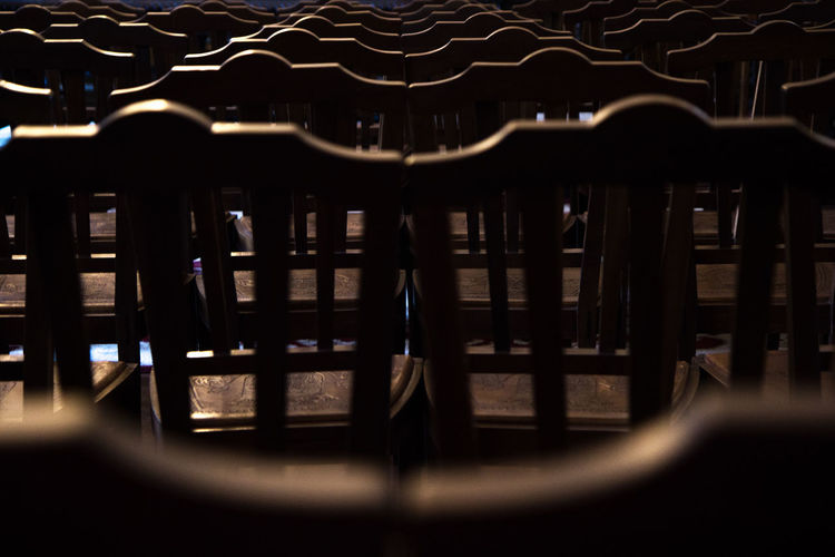 Chairs Dark Day Indoors  No People Pattern Pattern, Texture, Shape And Form Wood - Material