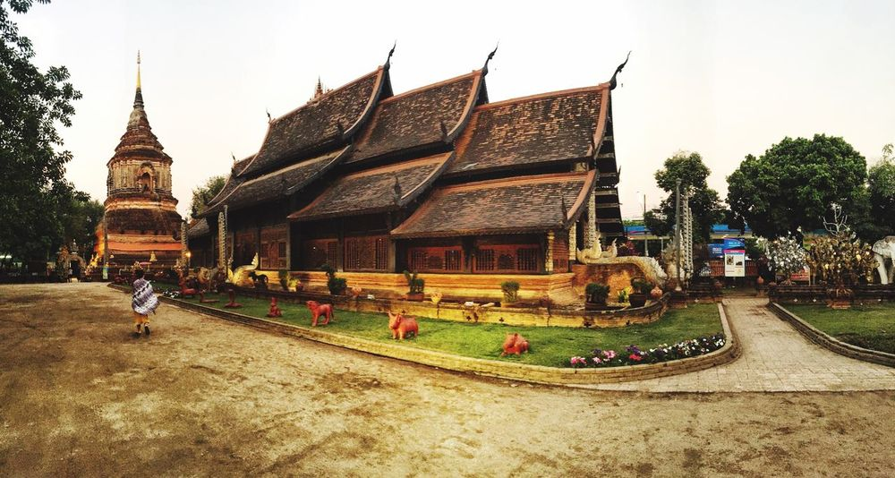 Religion Spirituality Architecture Place Of Worship Building Exterior Built Structure Travel Destinations Sky Tree Outdoors Large Group Of People Real People Grass Day Chiang Mai | Thailand Chiang Mai Meditation Budist Tempel
