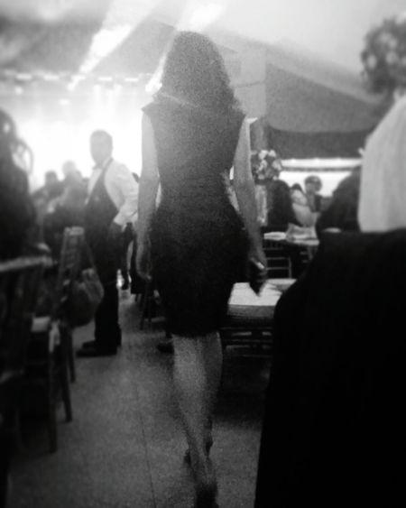 Women Sillouette Dress Black & White Hips Legs