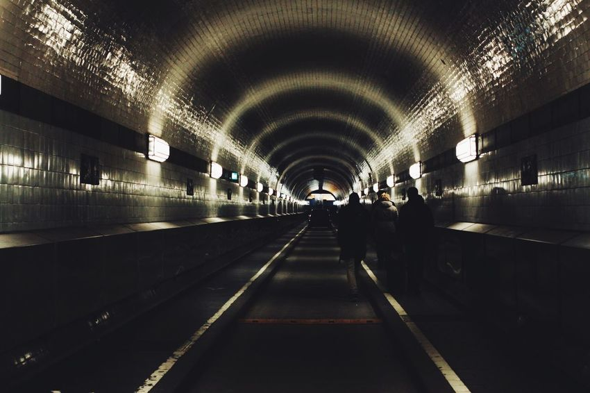 Real Life Germany🇩🇪 Lights And Shadows Lights Enjoying Life Click Click 📷📷📷 Taking Pictures Old Architecture Hansestadt Hamburg Hello Hamburg Hello World Shillouette Alter Elbtunnel Illuminated Transportation Indoors  Tunnel The Way Forward Real People Architecture Group Of People Underground Built Structure