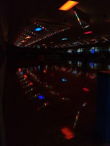 Night Celebration Illuminated Indoors  Roller Skating Rollerskate Skate Rink No People Motion