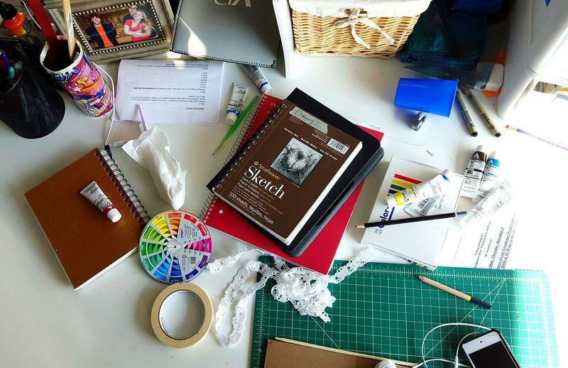 Art college man. My work space will never be clean. ArtschoolArt school Work Space My Desk Mymessydeskmessydesk Desks From Above