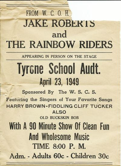 1949 flyer for band Grandfather Flyer 1949 Tyrone Georgia Band Fiddler