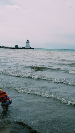 Sea Beach Water Tranquility Port Portdover Lake LakeErie Lighthouse Waterwaves