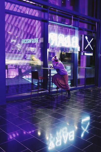 Looking Through Window Reflection Neon One Person Night Illuminated Real People Glass - Material Reflection Communication Full Length Lifestyles Text Side View Purple City Event Leisure Activity Nightlife #NotYourCliche Love Letter